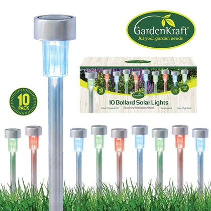 10pk Stainless Steel Bollard Solar Lights-colour