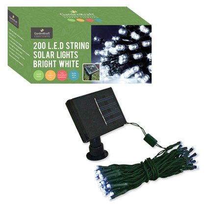 200 LED Solar String Lights - Bright White