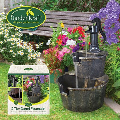 2 Tier Barrel Fountain (with 1.55m Cable)