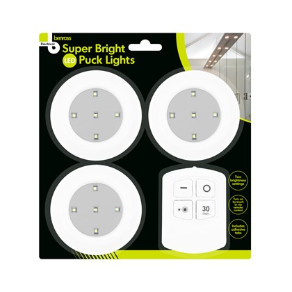 3pk Puck light incl R/C & Timer Function
