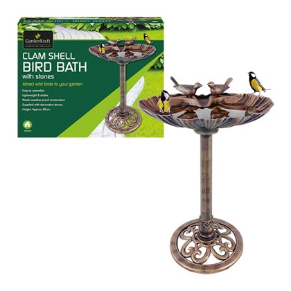 Clam Shell Bird Bath With Stones