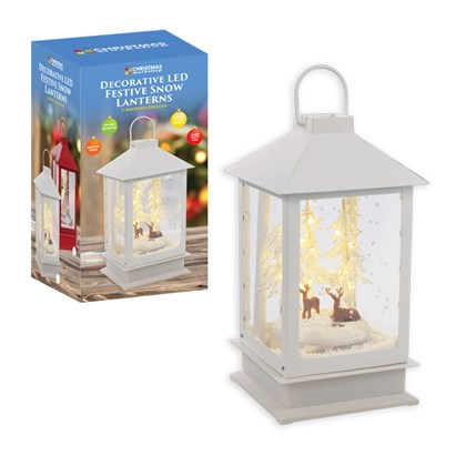 24 LED Festive Snow Lantern w/Swirling Snow-White