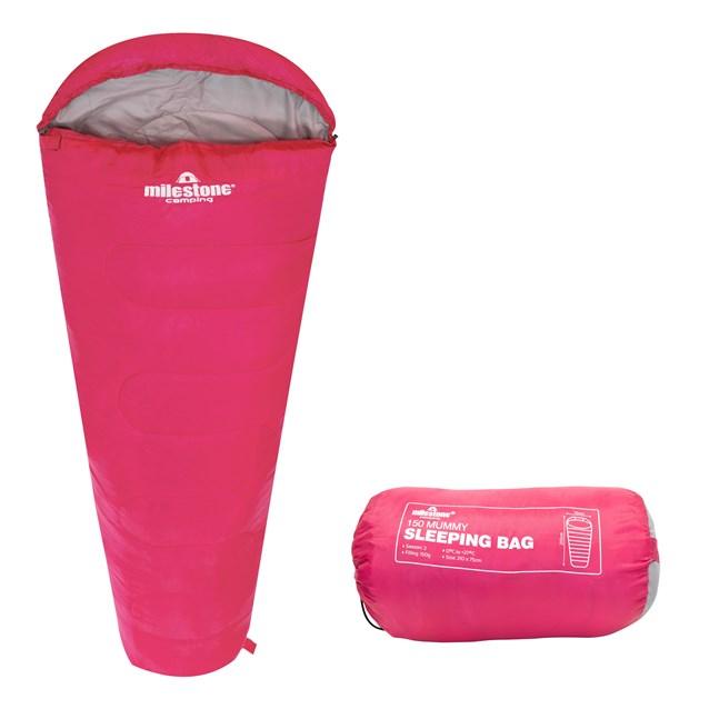 Mummy Sleeping Bag - Pink - Single - 2 Seasons