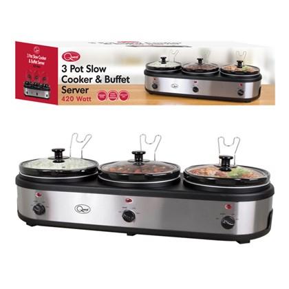 3-Pot Stainless Steel Slow Cooker Buffet Server