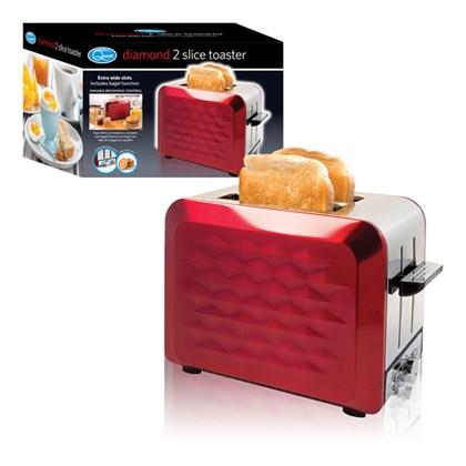 S/S 2-Slice Diamond Toaster - Red