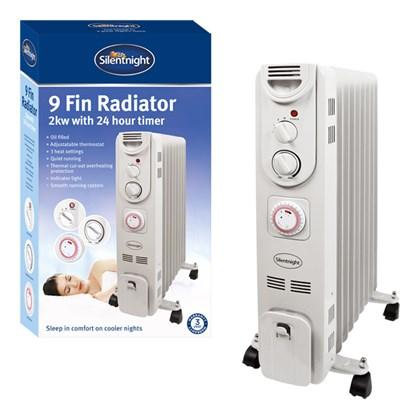 Silentnight 9-Fin 2Kw Oil Filled Radiator wi.Timer