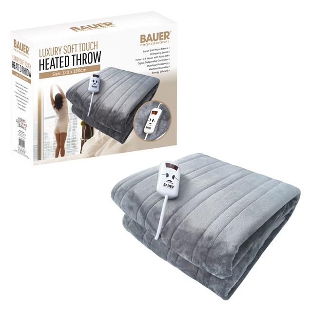 Bauer Luxury Soft Touch Heated Throw- Grey 120x160