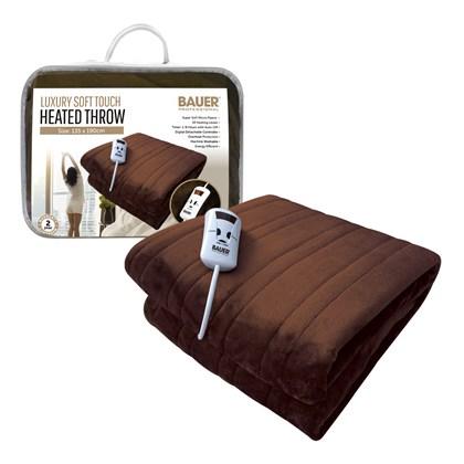 Bauer Luxury Soft Touch Heated Throw,Brown 135x190