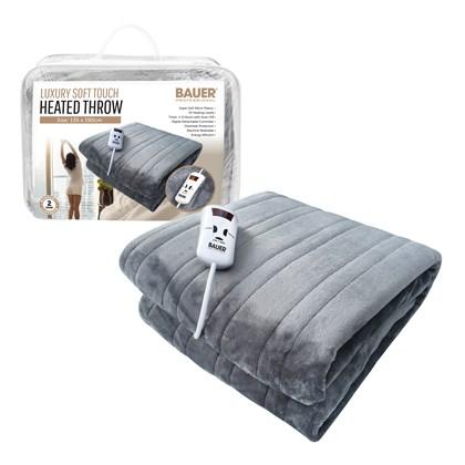 Bauer Luxury Soft Touch Heated Throw- Grey 135x190