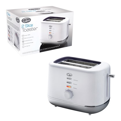 2 Slice Toaster White and Silver
