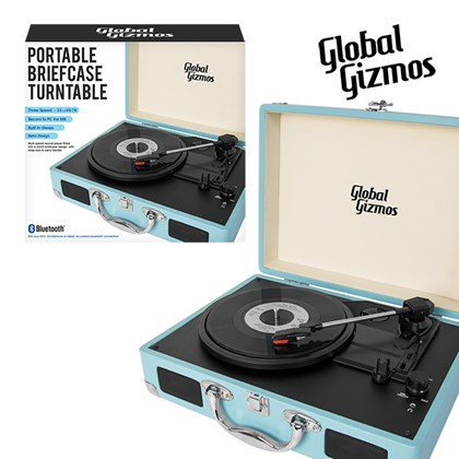 Blue-Portable Turntable Suitcase With Bluetooth