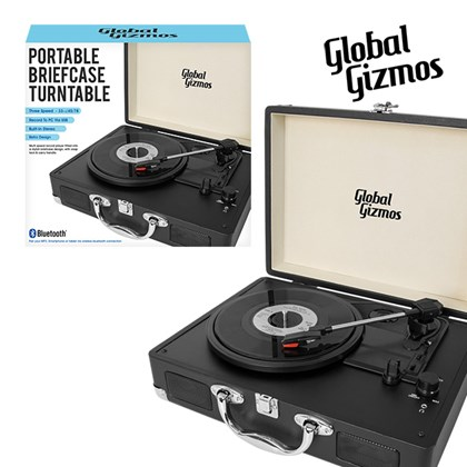 Black - Portable Turntable Suitcase With Bluetooth