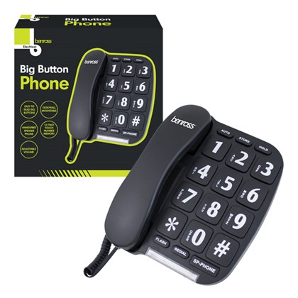 Jumbo Big Button Home Telephone - Black