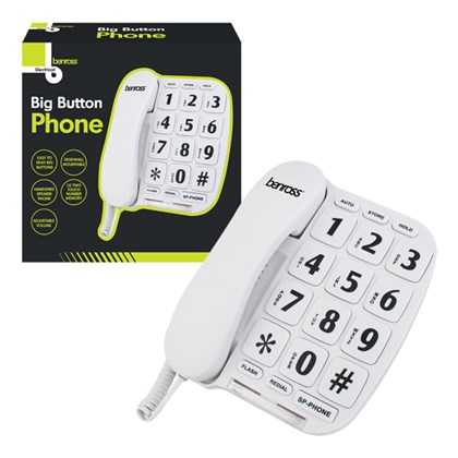 Jumbo Button Telephone-White