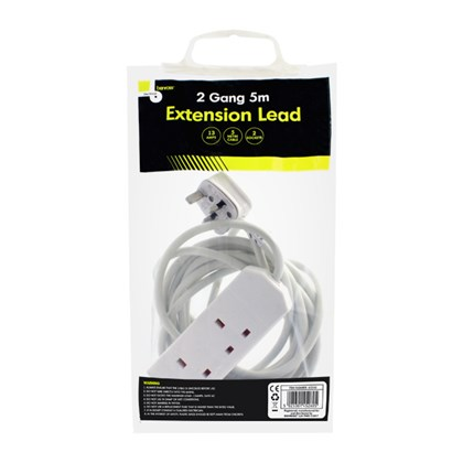 2-Way Extension Socket With 5m Cable