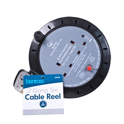 2-Gang 5M Cable Reel 10amp