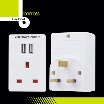 5V Adaptor W/2 USB Sockets - 2.1A