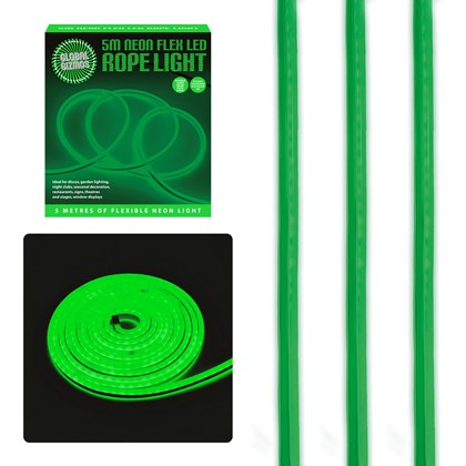 5m LED Neon Flex Rope Light Green