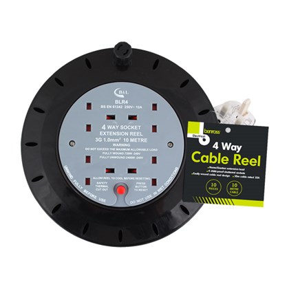 4 Way 10M Cable Reel - 10A