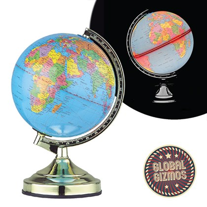 "13"" Globe Touch Lamp-Brass"