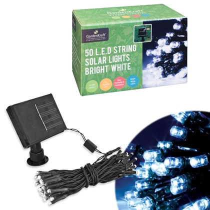 50 LED Solar Lights - White