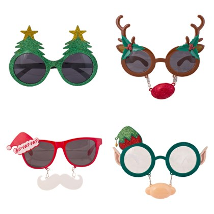 Xmas Novelty Glasses - 4 Assorted