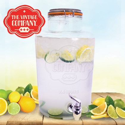 7.6L  Airtight Glass Jar W/ Tap & Clip on Lid