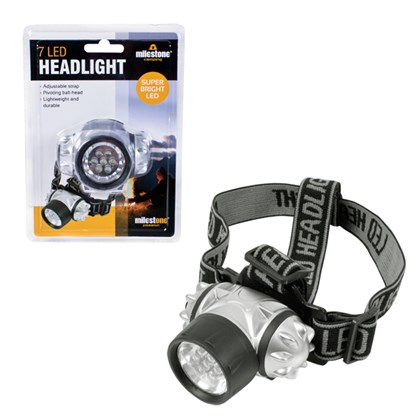 7 LED Head Light Torch With Pivoting Ball Head