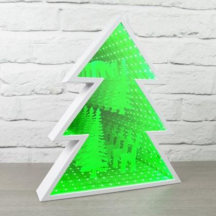 Xmas Tree Infinity Light With Reindeer Pattern