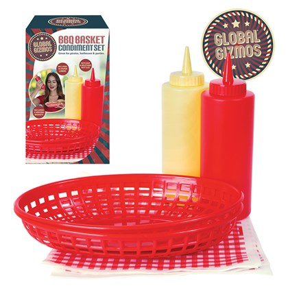 BBQ Chip Basket Set with Tissues & Sauce Bottles
