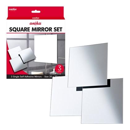 3pk Self Adhesive Mirrors - Square Large