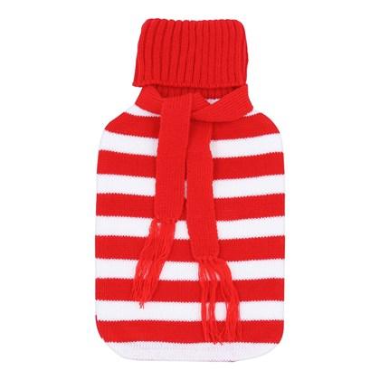 2Ltr Stripe Scarf Knitted Hot Water Bottle