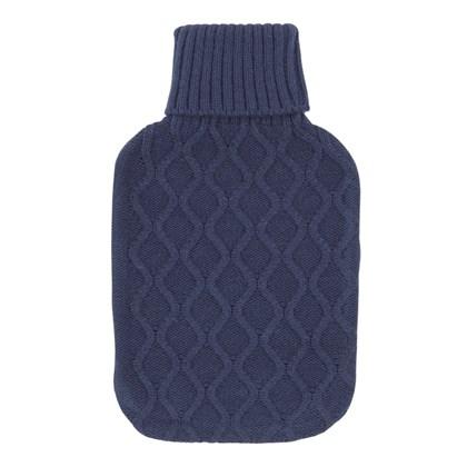 2Ltr Navy Knitted Hot Water Bottle