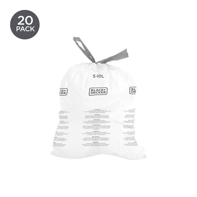 B+D 5-10L Bin Bags 20 Pack