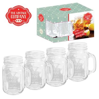 4PK 16OZ Mason Jar Glass Mugs