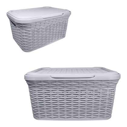 Rattan Laundry Box 27 Litre Grey
