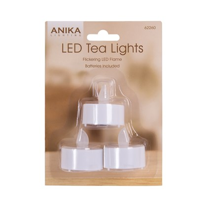 Battery Operated Flickering Tealights - 3pack