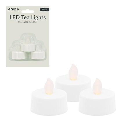 LED Flickering Tealights - 3 pack B/operated