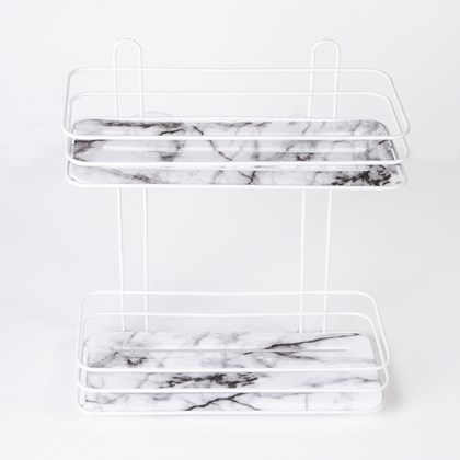 Suction 2 Tier Shelf - Marble Effect