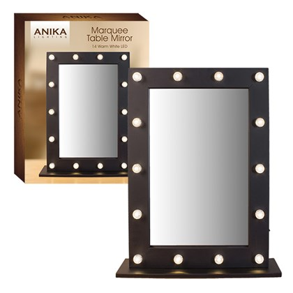 LED Marquee Table Mirror -Black