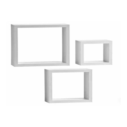 3pk White Floating Cube Shelves