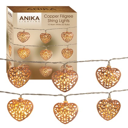 Copper Heart Shaped String Lights
