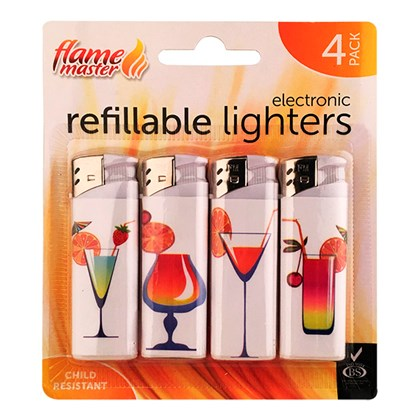 4pk Refillable Lighters-Cocktails