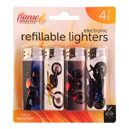 4pk Refillable Lighters-Motor Bike