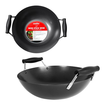 12''Wok With Two Handles-Black