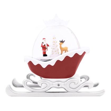 LED Water Sleigh Lantern With Santa - Red