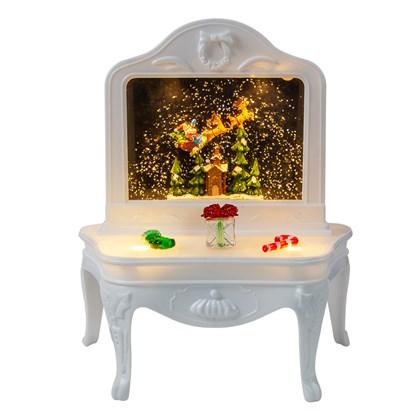 LED White Dress Table With Santa