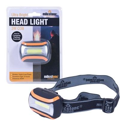 3W COB Ultra Bright Headlight Rubber Finish