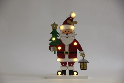 B/O 10 LED Wooden Santa Marquee Light - WW