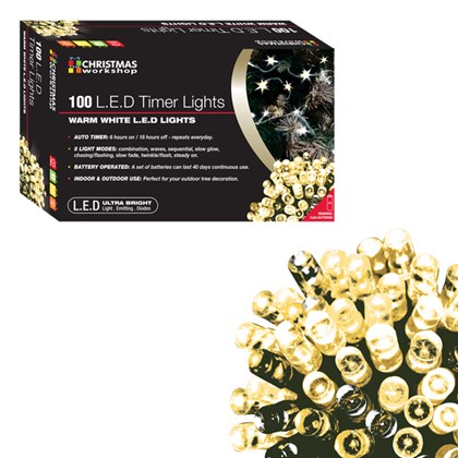 100 LED Battery Op Timer Lights - Warm White